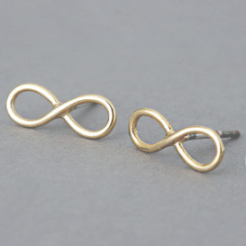 Yellow Gold Infinity Earrings Stud Silver Post