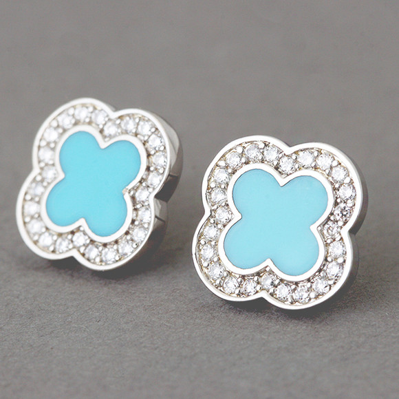 Turquoise Four Leaf Clover Earrings Studs Sterling Silver from kellinsilver.com
