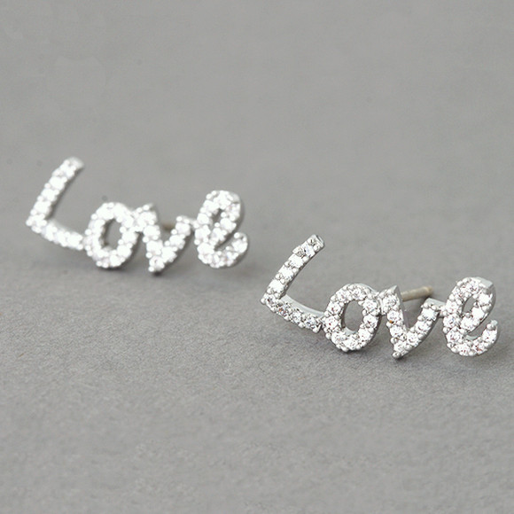 Swarovski Love Stud Earrings White Gold from kellinsilver.com - Love Jewelry, Love Word Earrings, Valentine Earrings