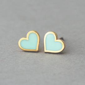 Mint Heart Stud Earrings Silver Post