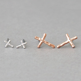 Small Hammered Cross Stud Earrings Set of 2
