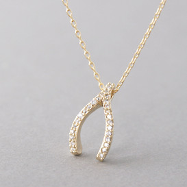 Swarovski Yellow Gold Wishbone Necklace Sterling Silver FROM KELLINSILVER.COM
