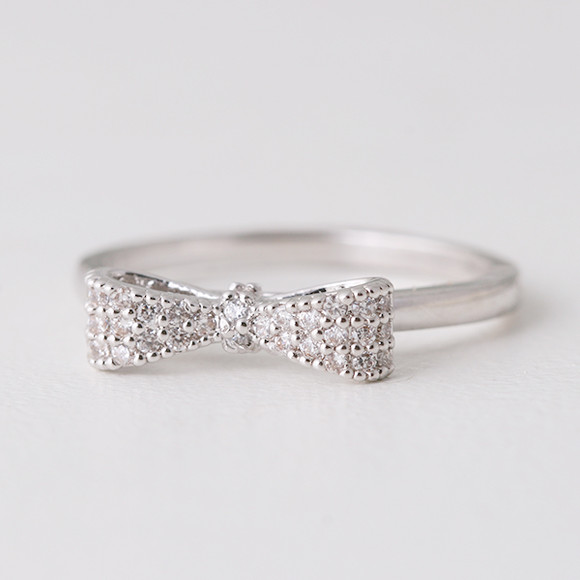 Pave White Gold Bow Ring Sterling Silver Kellinsilver Com