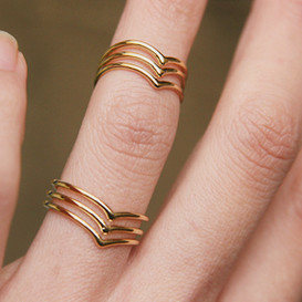 Gold Triple Chevron Knuckle Wrap Rings Set of 2
