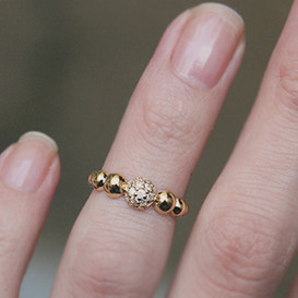 CZ Gold Dot Band Avbove Midi Ring