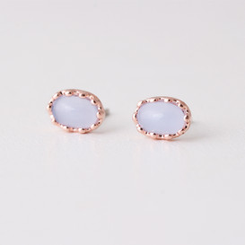 Rose Gold lavender Cabochon Earrings Studs