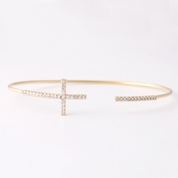 Swarovski Sideways Cross Cuff Bracelet Gold from kellinsilver.com
