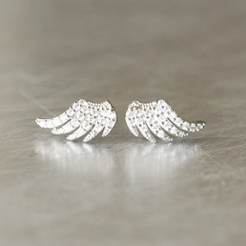 Swarovski Pave Small Angel Wing Earrings White Gold from kellinsilver.com