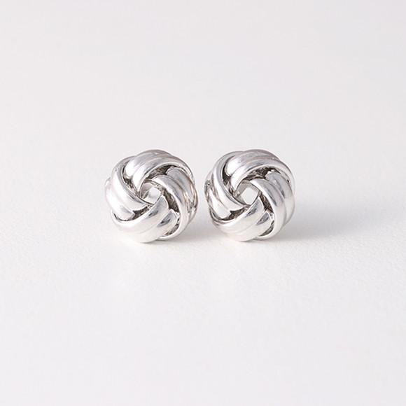 Classic White Gold Love Knot Earrings Studs Silver Post
