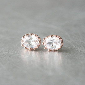 Ellipse Swarovski Rose Gold Stud Earrings from kellinsilver.com