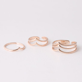 Rose Gold Chevron Knuckle Rings Set of 3  from kellinsilver.com