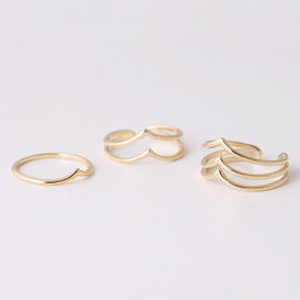Yellow Gold Chevron Rings Set of 3 from kellinsilver.com