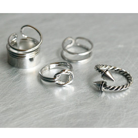 Silver Hardcore Rings Set of 4 from kellinsilver.com