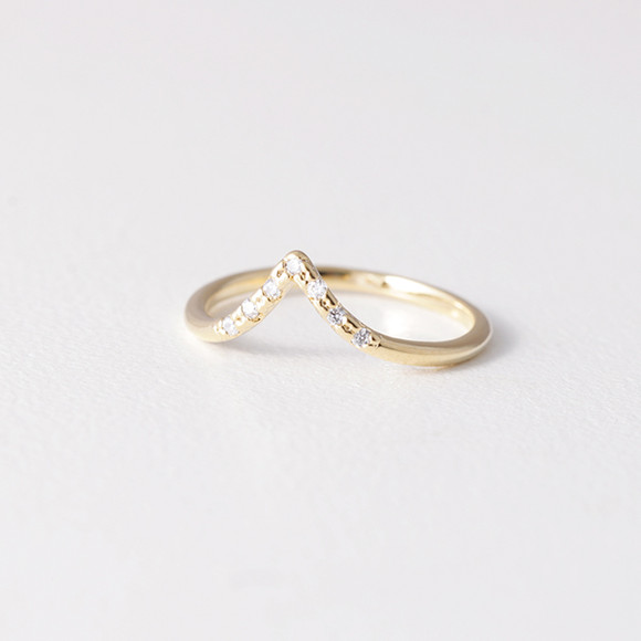 CZ Gold V Midi Ring from kellinsilver.com