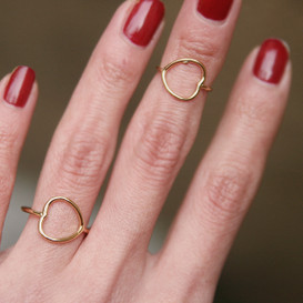 Gold Heart Midi Rings Set of 2 from Kellinsilver.com