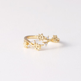CZ Blossom Wrap Around Ring Gold from kellinsilver.com