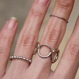 White Gold Dot Stackable Rings Set of 3  from kellinsilver.com