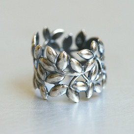 Oxidized Sterling Silver Olive Leaf Wrap Ring from kellinsilver.com
