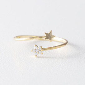 Cute Star Wrap Ring Gold from kellinsilver.com