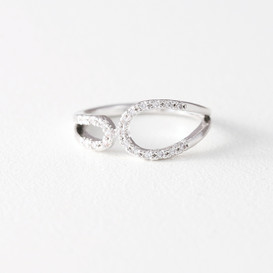 CZ Circle Embrace Midi Ring Wrap White Gold from kellinsilver.com