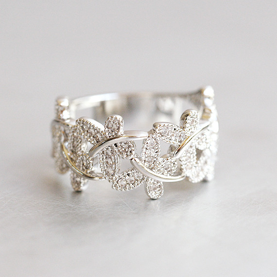 Cz Dragonfly Band Ring White Gold Kellinsilver Com