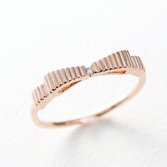 CZ Simple Bow Ring Rose Gold from kellinsilver.com
