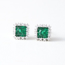 Swarovski Green Emerald Stud Earrings White Gold from kellinsilver.com