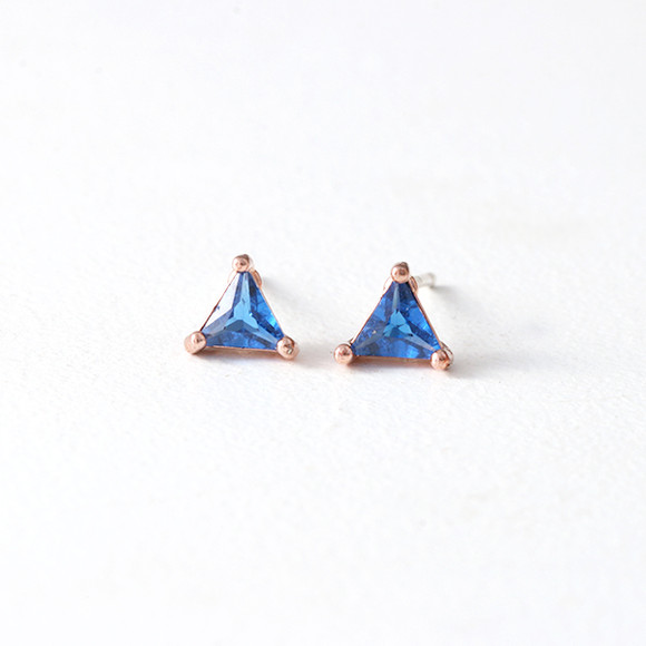 Tiny Triangle-Swarovski Blue Sapphire Stud Earrings Rose Gold from kellinsilver.com