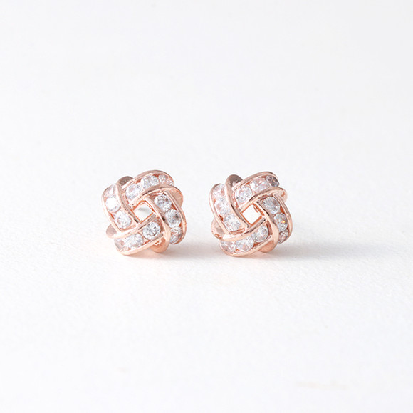 Swarovski Squire Infinity Knot Stud Earrings Rose Gold from kellinsilver.com