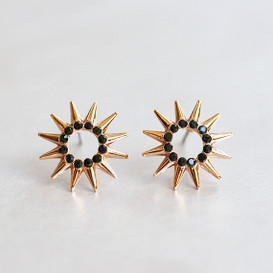 Black CZ Circle Point Earrings Studs Rose Gold from kellinsilver.com