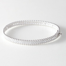 CZ Sterling Silver Perlee Bangle Bracelet White Gold from kellinsilver.com