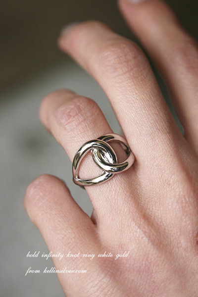 Bold Infinity Knot Ring White Gold Kellinsilver Com
