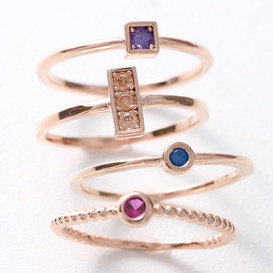 Color Stone Rose Gold Stackable Ring Set Of 4 from kellinsilver.com