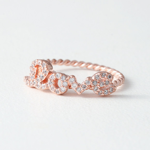 CZ Love Script Ring Rose Gold from kellinsilver.com
