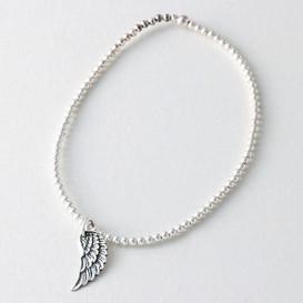 Sterling Silver Wing Charm Bracelet from kellinsilver.com
