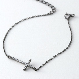 CZ Sterling Silver Sideways Cross Bracelet Black from kellinsilver.com