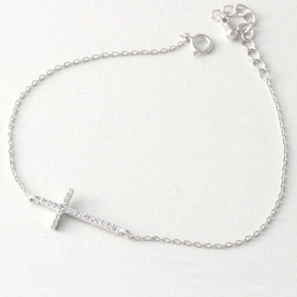 CZ White Gold Sideways Cross Bracelet Sterling Silver from kellinsilver.com