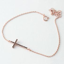 Black CZ Rose Gold Sideways Cross Bracelet Sterling Silver from kellinsilver.com