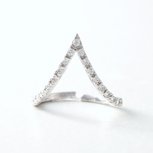 CZ White Gold V Knuckle Ring from kellinsilver.com