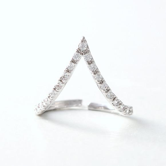 cz white gold v knuckle ring kellinsilver