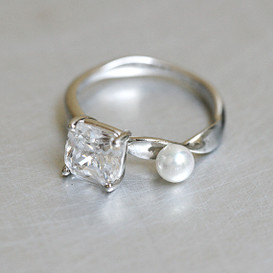 CZ and Pearl Bridge Ring Sterling Silver from kellinsilver.com