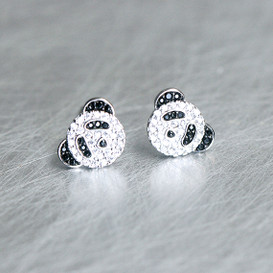 Swarovski White Gold Panda Studs Earrings from kellinsilver.com