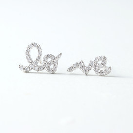 CZ White Gold Love Word Earrings Studs from kellinsilver.com