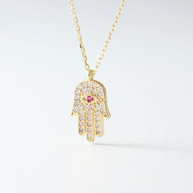 Swarovski Gold Hamsa Ruby Evil Eye Necklace Sterling Silver from kellinsilver.com