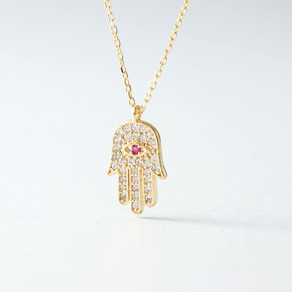 Swarovski Gold Hamsa Ruby Evil Eye Necklace Sterling Silver from kellinsilver.com