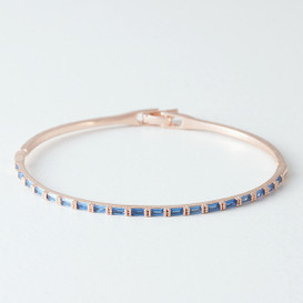 Swarovski Sapphire Rectangle Channel Bracelet Rose Gold Bangle from kellinsilver.com