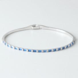 Swarovski Sapphire Rectangle Channel Bracelet Whire Gold from kellinsilver.com