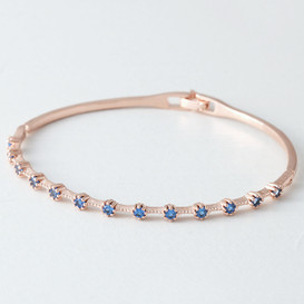 Swarovski Sapphire Delicate Bangle Rose Gold from kellinsilver.com