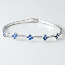 Swarovski Sapphire Clover Bangle Bracelet White Gold from kellinsilver.com