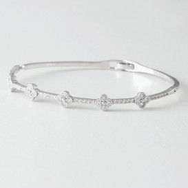 Swarovski Clover Bangle Bracelet White Gold from kellinsilver.com